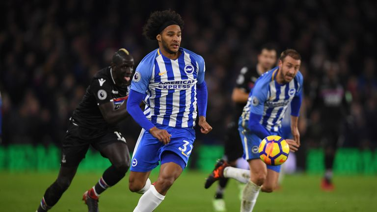 BRIGHTON, ENGLAND - NOVEMBER 28:  Izzy Brown of Brighton in action during the Premier League match between Brighton and Hove Albion and Crystal Palace at A