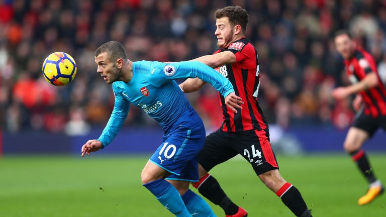 BOURNEMOUTH, ENGLAND - JANUARY 14:  Jack Wilshere of Arsenal and Ryan Fraser of AFC Bournemouth battles for possesion during the Premier League match betwe