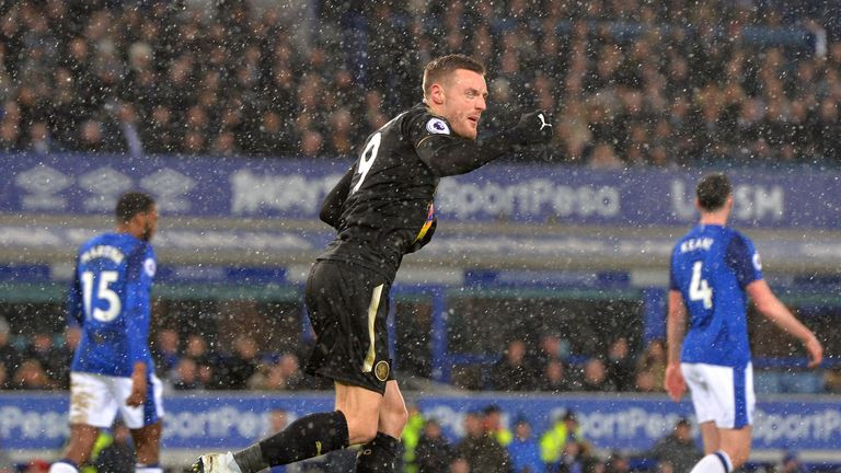 Jamie Vardy pulls a goal back for Leicester