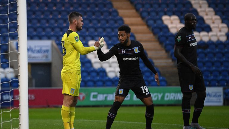 Steer celebrates after saving a penalty against Colchester in the Carabao Cup