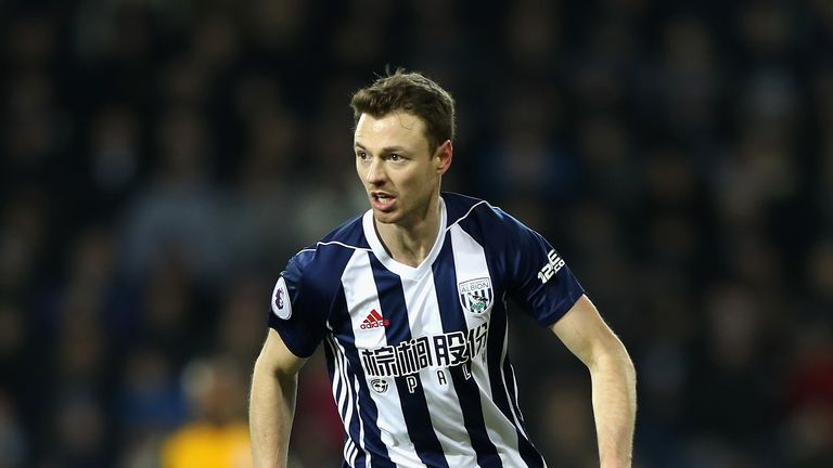WEST BROMWICH, ENGLAND - JANUARY 13:  Jonny Evans of West Bromwich Albion in action during the Premier League match between West Bromwich Albion and Bright