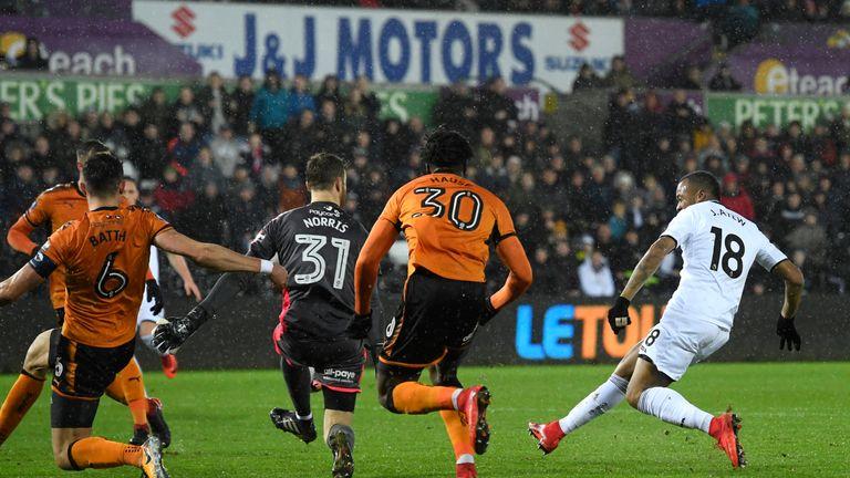 Jordan Ayew opens the scoring for Swansea City