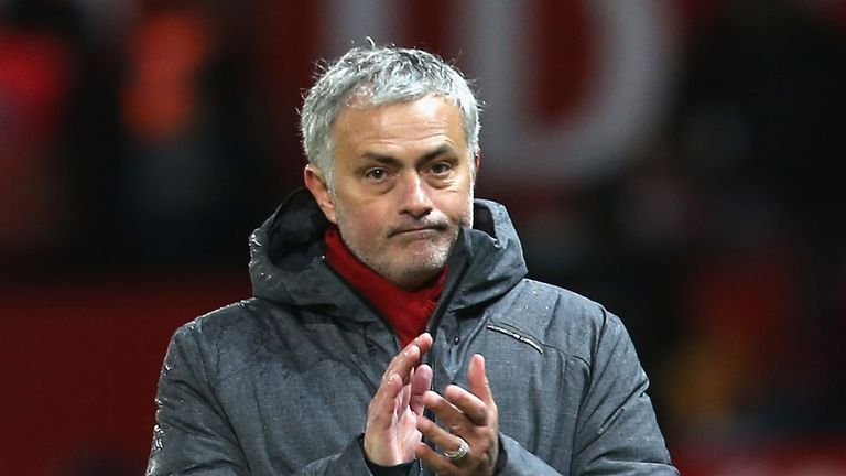 Jose Mourinho during the Premier League match between Manchester United and Stoke City at Old Trafford on January 15, 2018