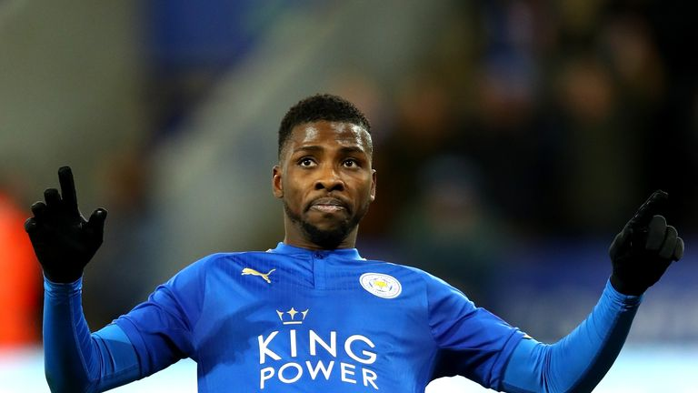LEICESTER, ENGLAND - JANUARY 16:  Kelechi Iheanacho of Leicester City celebrates as he scores their first goal during The Emirates FA Cup Third Round Repla
