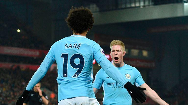 Leroy Sane celebrates scoring Manchester City's equaliser with Kevin De Bruyne