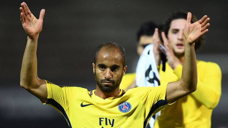 Paris Saint-Germain's Brazilian midfielder Lucas Moura reacts at the end of the French L1 football match between Angers (SCO) and Paris Saint-Germain (PSG)