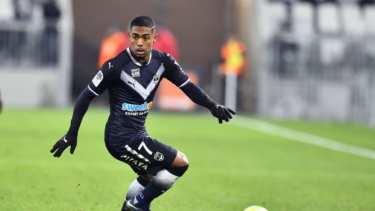 Bordeaux's Brazilian forward Malcom runs with the ball during the French L1 football match between Bordeaux (FCGB) and Montpellier (MHSC) on December 20, 2