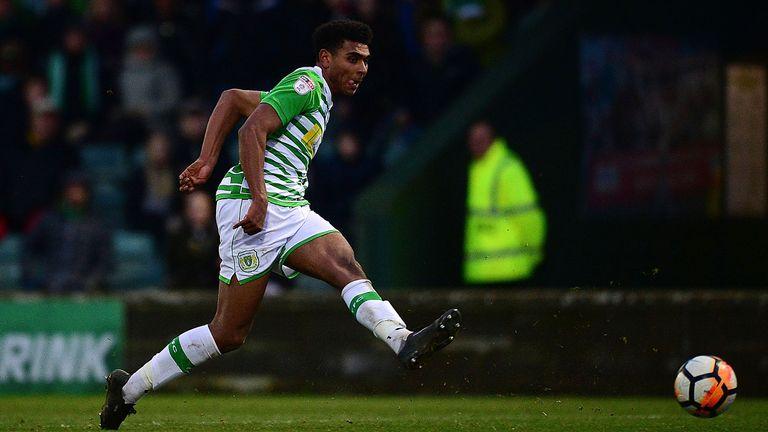 Marcus Barnes scores for Yeovil against Bradford