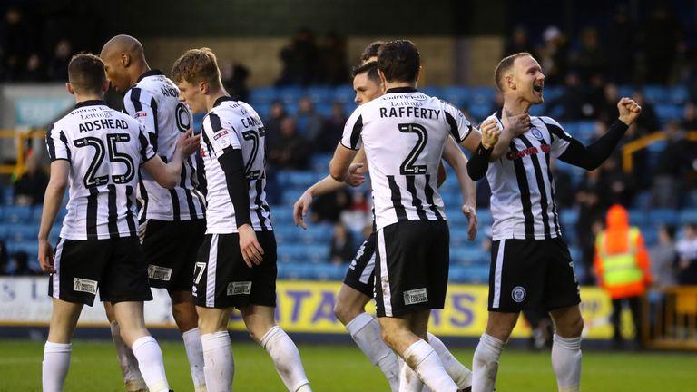 Matt Done celebrates scoring his side's second goal