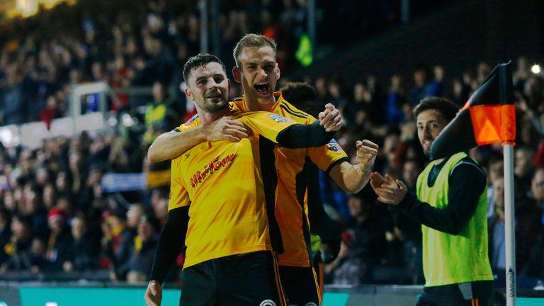 Padraig Amond celebrates with team-mate Mickey Demetriou