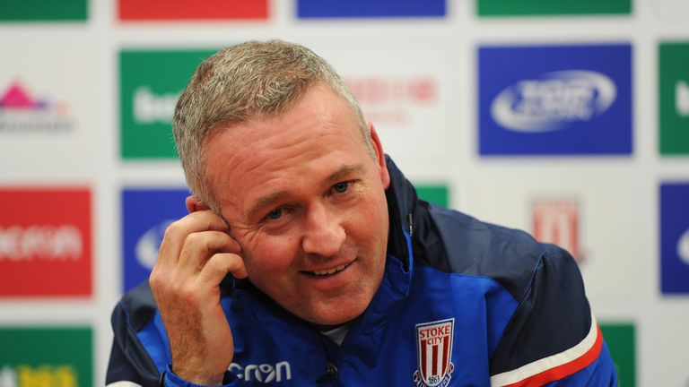 Paul Lambert talks to the media as he is officially unveiled as the new Stoke City manager at the Britannia Stadium