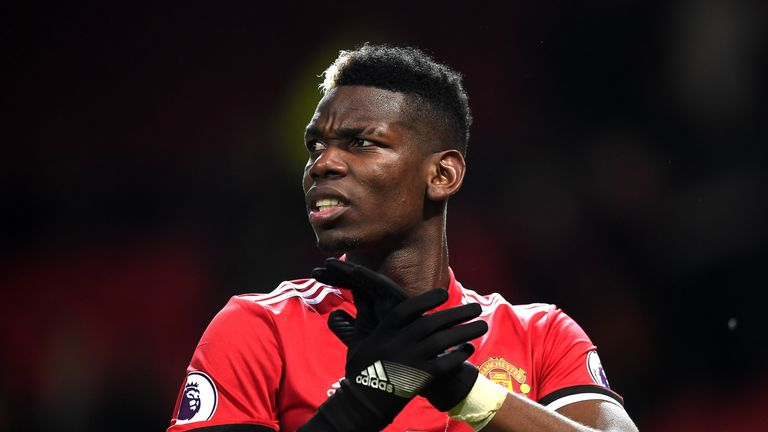 Paul Pogba of Manchester United reacts following the Premier League match between Manchester United and Stoke City at Old
