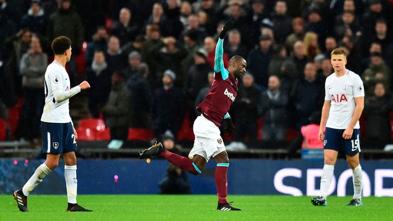 Pedro Obiang celebrates his spectacular strike opens the scoring at Wembley