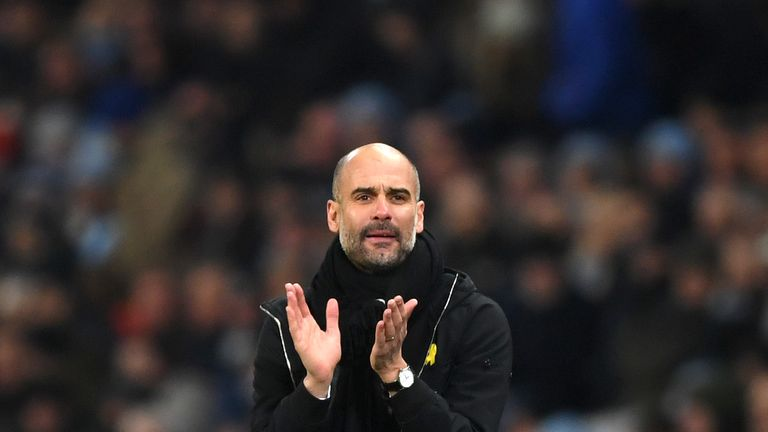 MANCHESTER, ENGLAND - JANUARY 20:  Josep Guardiola, Manager of Manchester City reacts during the Premier League match between Manchester City and Newcastle