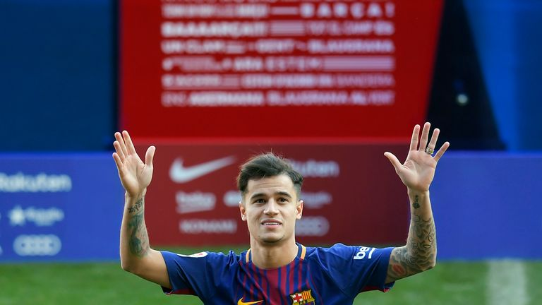 Philippe Coutinho during his official presentation at the Nou Camp