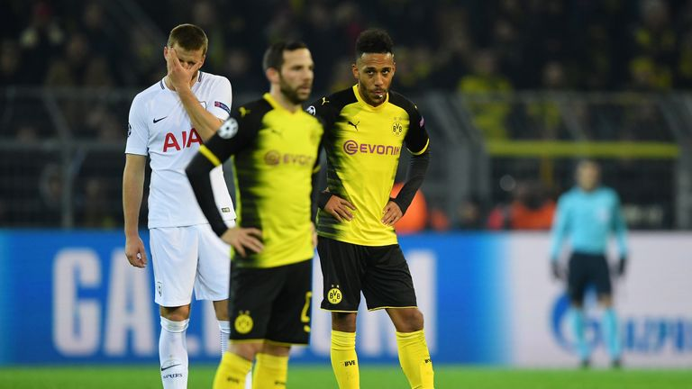 Pierre-Emerick Aubameyang looks dejected during the UEFA Champions League group H match against Tottenham