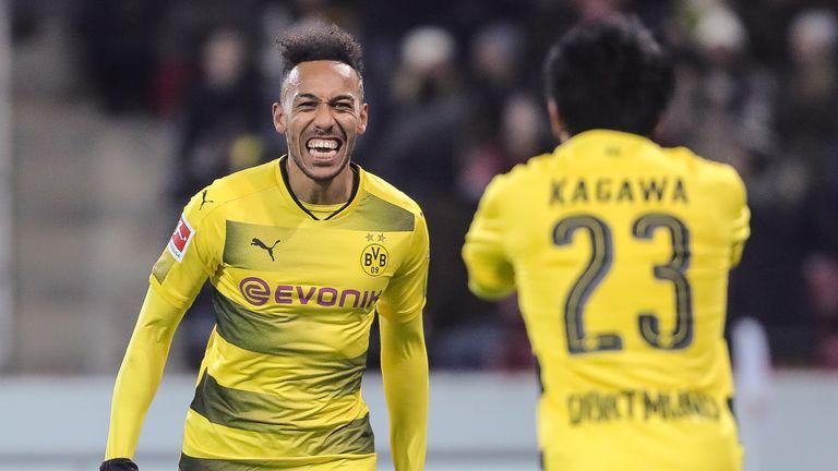 Pierre-Emerick Aubameyang celebrates with team-mate  Shinji Kagawa after scoring his team's second goal