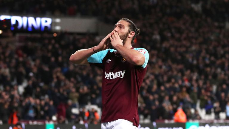 Andy Carroll celebrates his second half equaliser