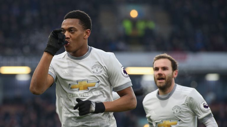 Anthony Martial celebrates his goal at Turf Moor on Saturday