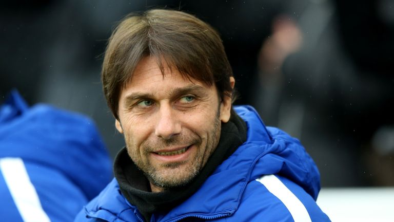 Antonio Conte prior to the Premier League match between Brighton and Hove Albion and Chelsea