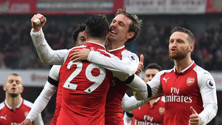 Nacho Monreal scored once and assisted two more on Saturday