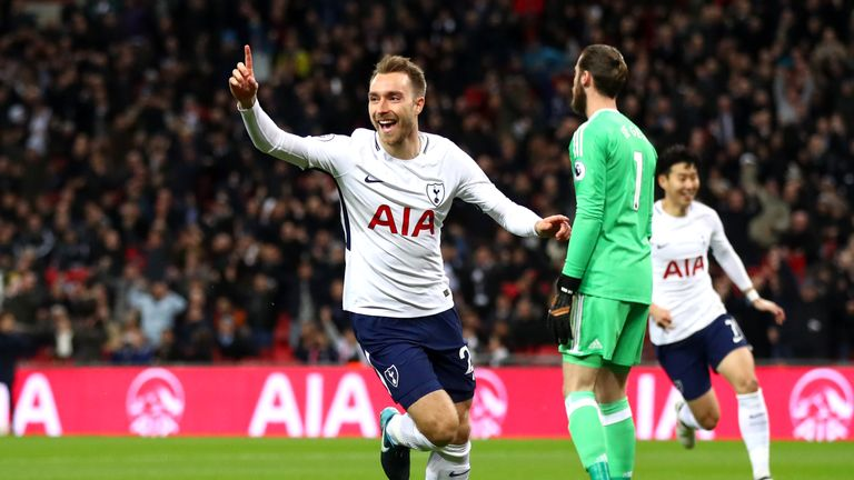 Eriksen celebrates after scoring 11 seconds into the Premier League match against Manchester United
