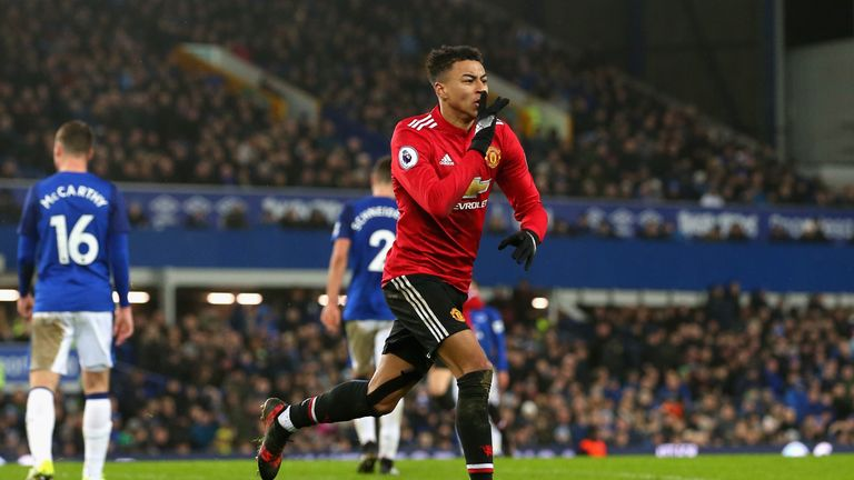 Jesse Lingard celebrates after he puts Manchester United 2-0 up