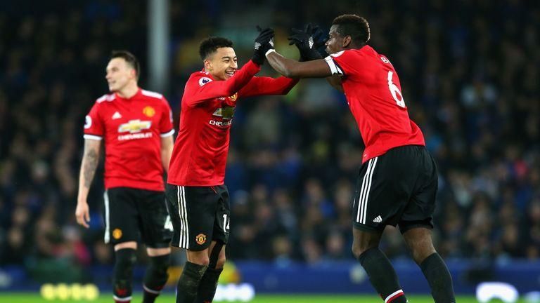 Jesse Lingard celebrates with Paul Pogba