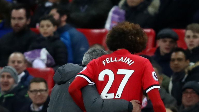 Fellaini was forced off just seven minutes after coming on against Tottenham