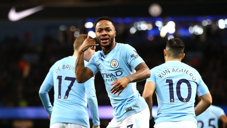 Raheem Sterling celebrates after scoring Manchester City's first goal against Watford at the Etihad Stadium