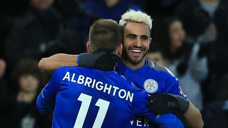 Riyad Mahrez celebrates his goal with team-mate Marc Albrighton