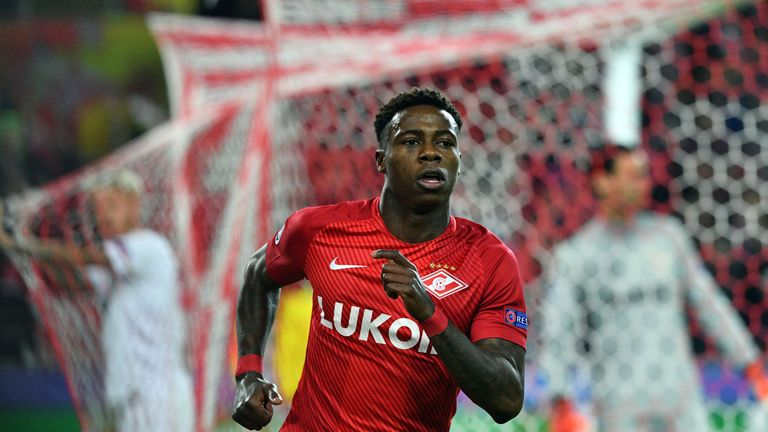 Spartak Moscow's forward from Netherlands Quincy Promes celebrates after scoring a goal during the UEFA Champions League Group E football match between FC