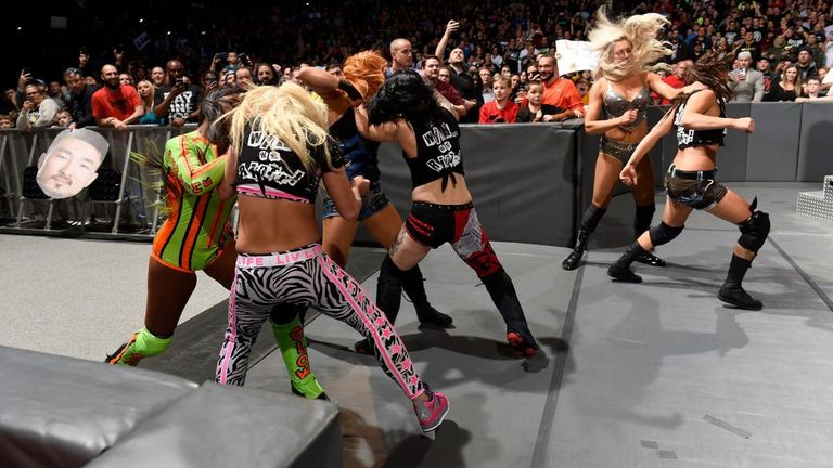The Riott Squad found themselves on the wrong end of a post-match attack by Charlotte Flair, Becky Lynch and Naomi