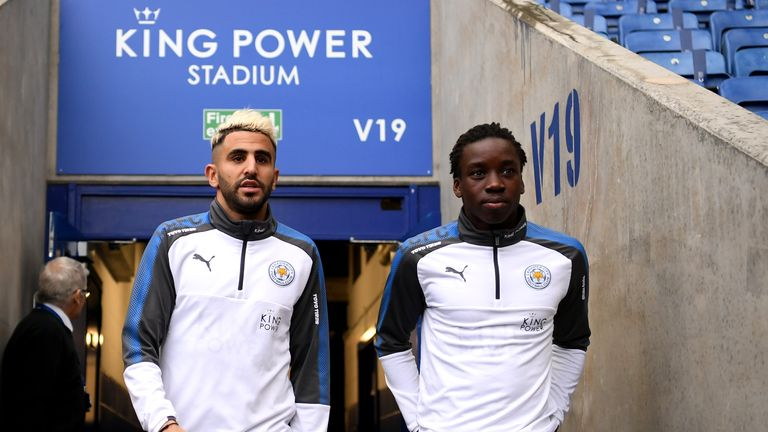 LEICESTER, ENGLAND - JANUARY 20:  Riyad Mahrez and Fousseni Diabate of Leicester City arrive prior to the Premier League match between Leicester City and W