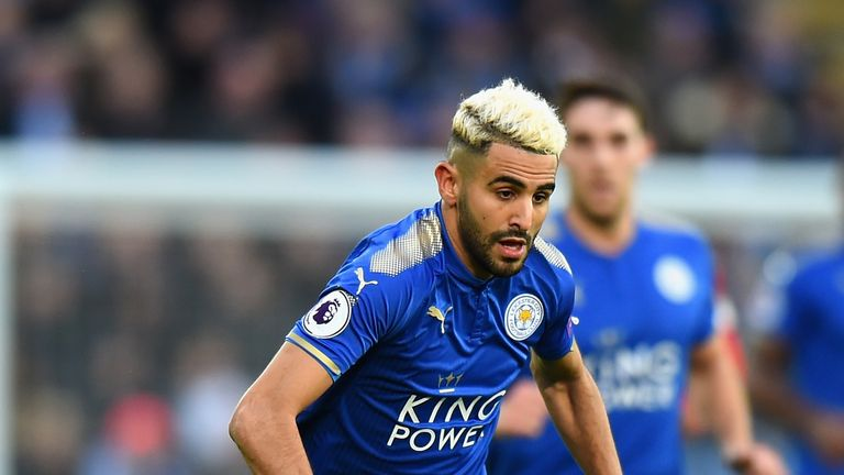 Riyad Mahrez in action during the Premier League match between Leicester City and Huddersfield Town at The King Power Stadium