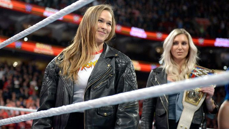 Flair looks on as Ronda Rousey debuts at Royal Rumble