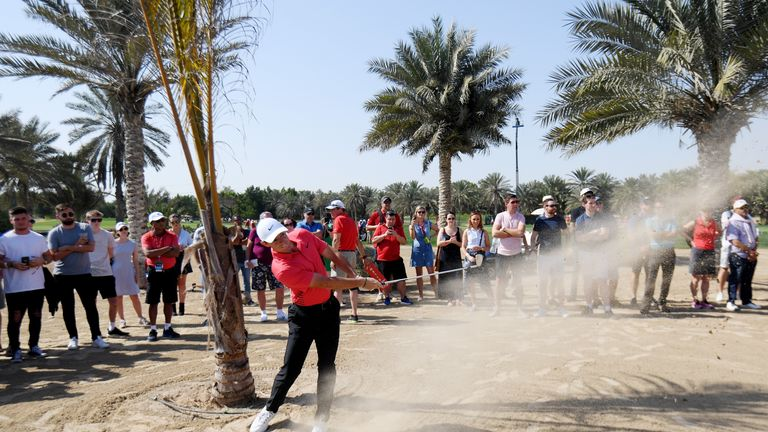 McIlroy salvaged a par at the ninth after finding the sand with his tee shot