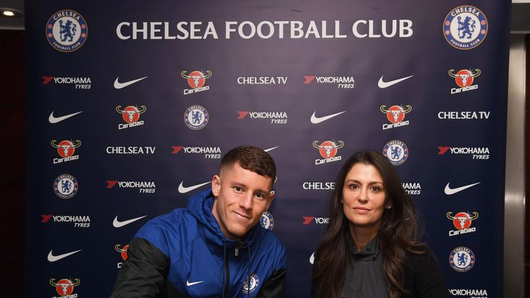 New Chelsea signing Ross Barkley with club director Marina Granovskaia at Stamford Bridge on January 5, 2018