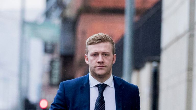 Ireland and Ulster rugby player Stuart Olding arrives at Belfast Crown Court