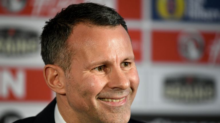 Wales manager Ryan Giggs during a press conference at Hensol Castle