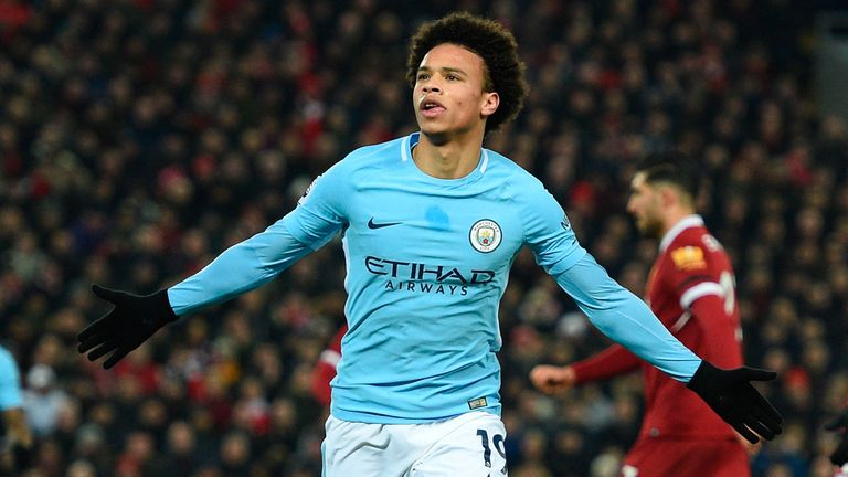 Leroy Sane scores for Manchester City against Liverpool in the Premier League.