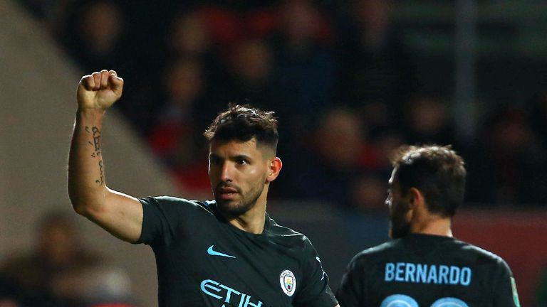 Manchester City's Sergio Aguero celebrates after scoring their second goal