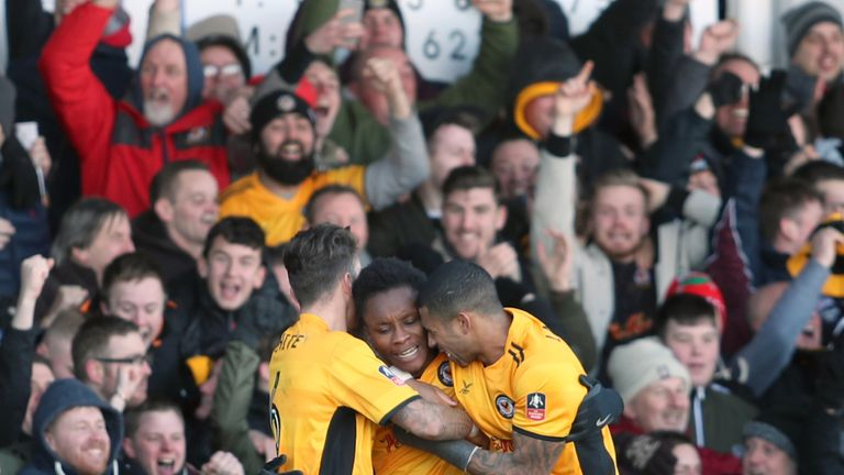 Newport County's Shawn McCoulsky (centre) celebrates scoring the winner against Leeds