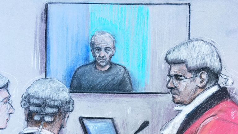Court artist sketch by Elizabeth Cook of Barry Bennell appearing via videolink at Liverpool Crown Court