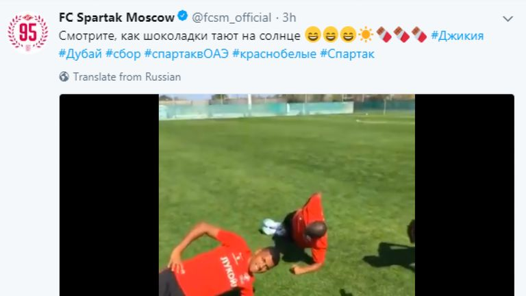 Spartak Moscow tweeted the words 'see how the chocolates melt in the sun' above a video of three black players training