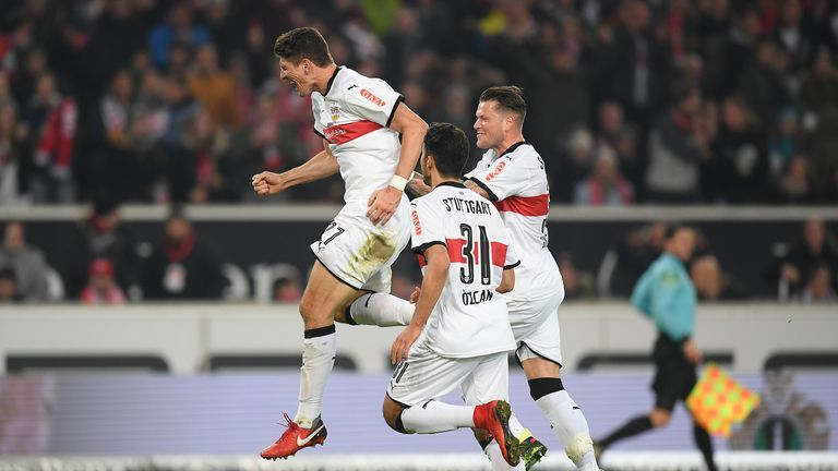 Mario Gomez of Stuttgart  celebrates after Niklas Stark of Hertha Berlin (not pictured) scored an own goal