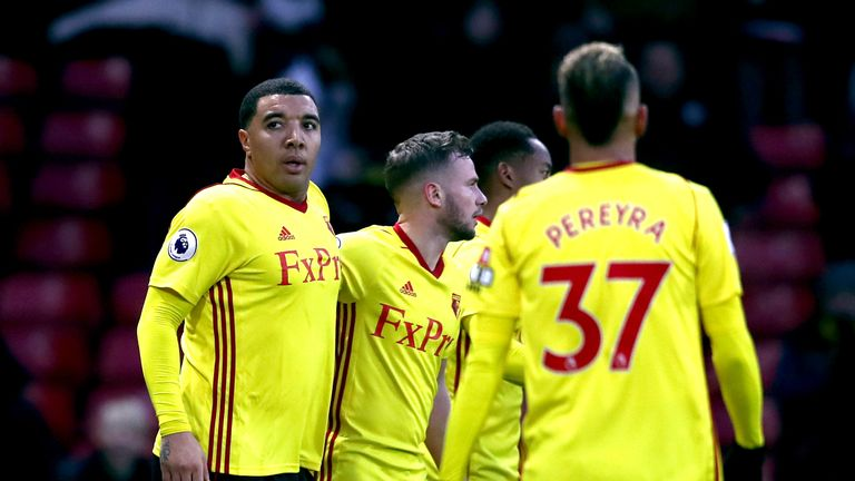 Troy Deeney celebrates scoring Watford's second against Bristol City