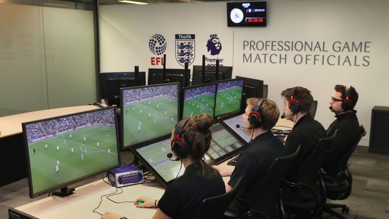 A video assistant referee will sit in the centre, flanked by an assistant official and a video replay operator at the Premier League Match Centre.