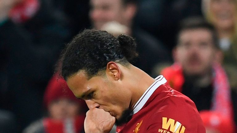 Liverpool's Dutch defender Virgil van Dijk celebrates scoring their second goal during the English FA Cup third round football match between Liverpool and