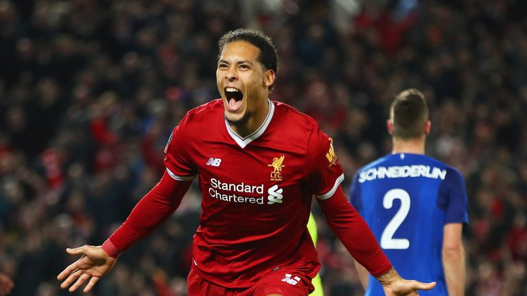 Virgil van Dijk scored on his Liverpool debut in the FA Cup win over Everton